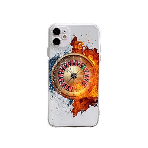 Funda compatible con iPhone 12, compatible con 12 Pro funda, [6.1 pulgadas] resistente a los golpes, resistente a los arañazos, mesa de ruleta dongbin, diseño marrón y goma (funda transparente)