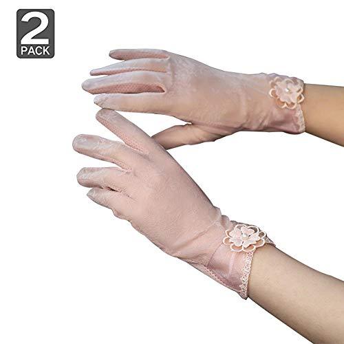 2 Paar Frauen Schutzhandschuhe aus UV-Virus Spitze Fahren Fahrradhandschuhe Anti-Rutsch-Touchscreen, dünne Eisseide Outdoor Motorrad Etikette Handschuhe Sunblock Hochzeitskleid Handschuhe-Grau + Weiß