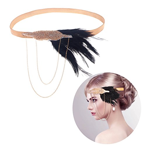Flapper Hoofdband vintage veer elastische haarband decoratieve haaraccessoires voor vrouwen (willekeurige kleur)