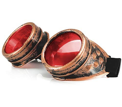 Lunettes de soudage style steampunk âge victorien – Pour gothique et cosplay – Avec piques et verres teintés Morefaz™ protection UV 400 - Or -