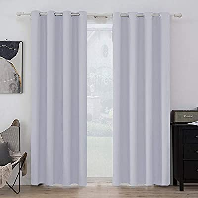 MIULEE Room Darkening Curtains Thermal Insulated Drapes Solid Window Treatment Set Grommet Top Light Blocking Blackout Curtain for Living Room/Bedroom 2 Panels 52 x 84 inch Greyish White