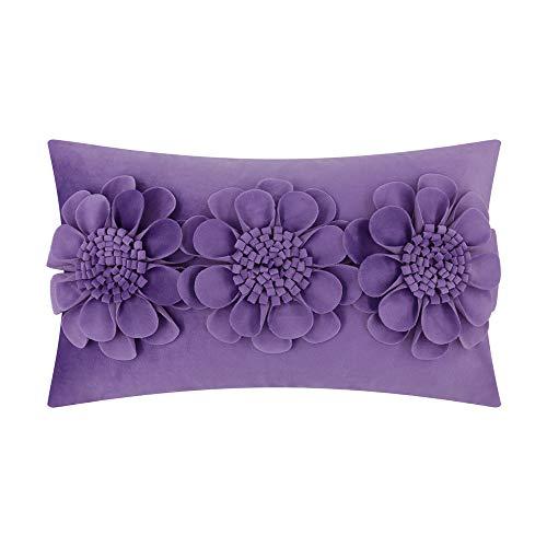JWH 3D Rose Flowers Accent Pillow Case Velvet Cushion Cover Home Sofa Bed Living Room Office Chair Car Travel Decor Pillowslip Gift 12 x 20 Inch Light Lavender