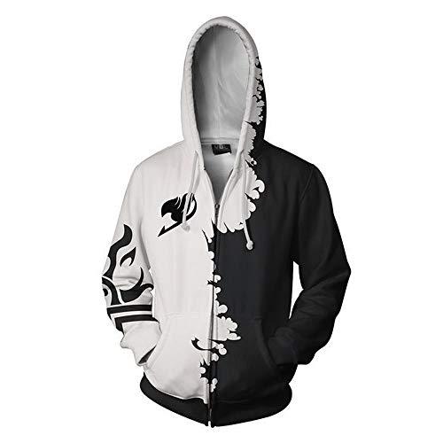 Denkqi Unisex 3D Druck Hoodie Kapuzenpullover Langarm Sweatshirt Kapuzenjacke Mit Tunnelzug Pullover Taschen Top Shirt Weihnachten Herbst Winter Hemd Fairy Tail Zipper XL