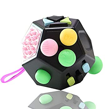 VCOSTORE 12 Sided Fidget Cube Dodecagon Fidget Toy for Children and Adults Stress and Anxiety Relief Depression Anti with ADHD ADD OCD Autism  Black
