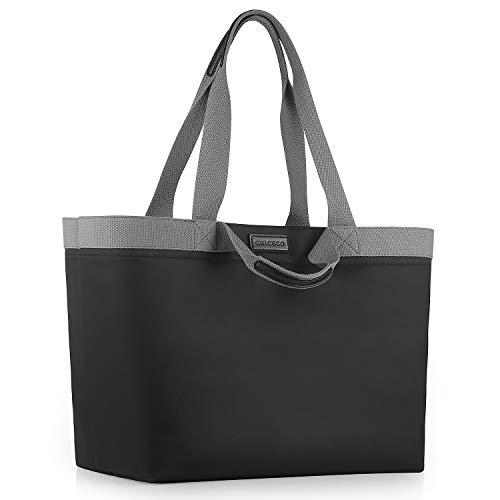 CHICECO Extra Große Shopper Einkaufstasche für Damen für die Arbeit im Fitnessstudio Wasserdichte Strandtasche aus Nylon - Schwarz Grau