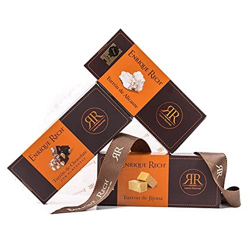 Cesta Regalo Enrique Rech - Pack de 3 Turrones Artesanos de 150g - Turrón Jijona, Turrón Alicante, Turrón Chocolate con Almendras - Cesta de Navidad con Turrones Premium Enrique Rech
