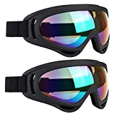 ELECOOL Ski Goggles 2 Packs, Multicolor Lenses Snow Goggles with Wind Dust UV 400 Protection for Women Men Kids Girls Boys Winter Snowboard Snowmobile Skiing(Black/Black)