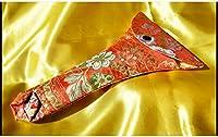 三味線 地唄 民謡 ばち 袋 165 x 255mm 錦 赤 (送料など込)
