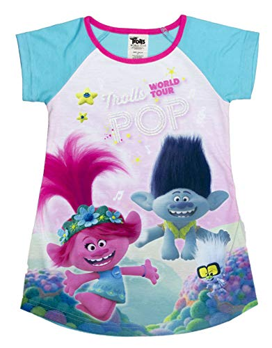 DREAMWORKS TROLLS Nightgown Pajama,World Tour Poppy & Branch Trolls Movie, Turquoise, Toddler Girl Size 3T