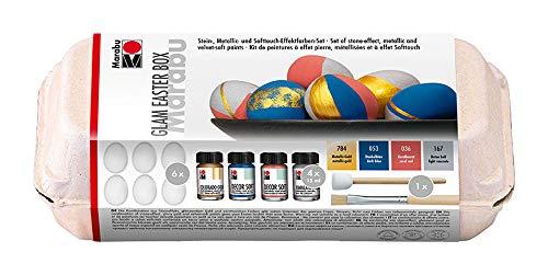 Marabu 1402000000082 - Decor Soft Farben Set Glam Easter Box, Stein, Metallic-und Softtouch-Effektfarben zum Pinseln und Tupfen, 4 x 15 ml Dekorfarbe, Kunststoffeier, Pinsel und Schablonierpinsel
