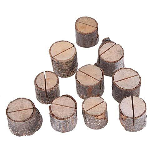 Trä Stump Shape Menu Number Clip Stand Wedding Party Table Decor 10pcs / lot vedstacken Namn förlägger kortet fotohållare Naturliga Festdekorationer