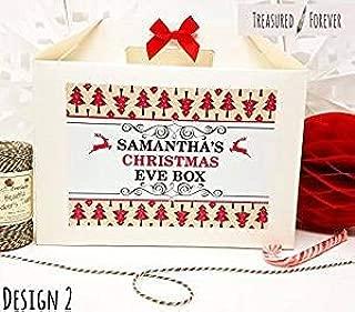 Personalizable Nochebuena caja con libre regalo | fiesta bolsa de regalo | con cinta y papel de seda–diseño 2 Small White Box