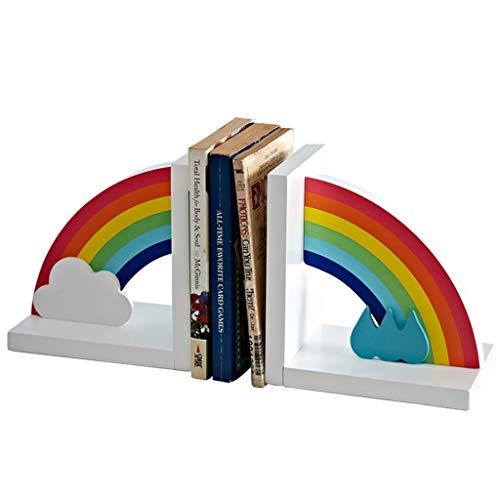 MQH Sujetalibros Arco Iris Sookends Habitación para niños Decoración de la decoración Escritorio End Stand Stand Wood Wood Stopper Soports Soporta estantería para Libros Extremos de Libros