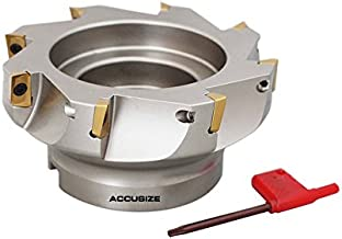 Accusize Industrial Tools 5'' by 1-1/2'' 90 Deg Square Shoulder Indexable Face Mill with 8 Pcs Apkt1604 Inserts Installed, 4508-0022b