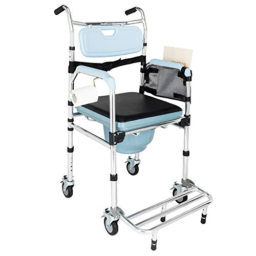 Mefeir Folding Commode Chair for Toilet w/Wheels & Pedal, 350 LBS Weight Capacity, 4 in 1 Multifunctional Portable Heavy Duty Bidet Shower Bath Chair for Elder Disabled People Pregnant Women