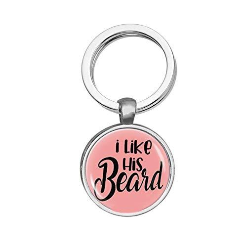 Amody Legierung schlüsselanhänger Schmuck Rund Tag Gravur I Like his Beard Pink Schlüsselbund für Frauen Männer Paarschmuck, für Freund Freundin