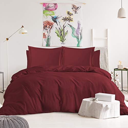 Nestl Duvet Cover 6-Piece Set - Tri Blend Cotton Duvet Cover with Zipper, Deep Pocket Fitted Sheet, 2 Cooling Pillow Cases, 2 Pillow Shams - King, Burgundy Red