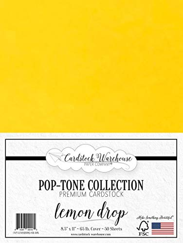 Lemon Drop Yellow Cardstock Paper - 8.5 x 11 inch 65 lb. Cover -50 Sheets from Cardstock Warehouse