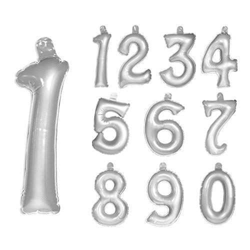 Folat 20233 Opblaasbaar getal 6 zilver