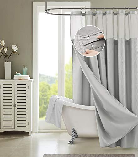 Dainty Home Smart Design 2-in-1 Duschvorhang, Waffelgewebe, wasserdicht, abnehmbar, 182,9 cm breit x 182,9 cm lang, Silbergrau
