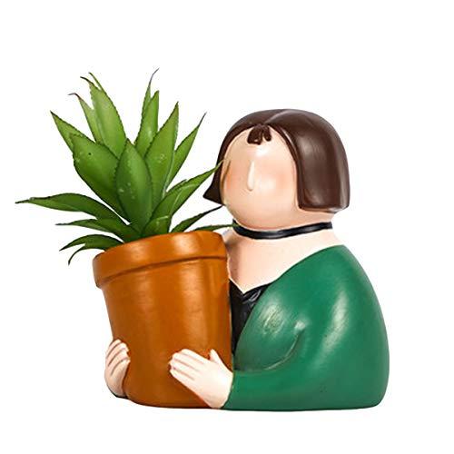 AYUSHOP Macetas de Resina para Flores y Plantas, Retrato de Dibujos Animados Conjunto de Plantador con Agujero,Portalápices Decoración para Oficina Casa Ventana,D