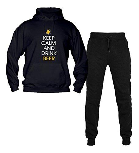 Social Crazy trainingspak voor heren met capuchon met broek met manchetten, topkwaliteit, toppasvorm, keep calm en drankbeer, vrije tijd sport, Made in Italy