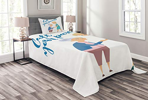 ABAKUHAUS Ruf Mama Tagesdecke Set, Frau und Mutter-Entwurf, Set mit Kissenbezügen Waschbar, für Einselbetten 170 x 220 cm, Mehrfarbig