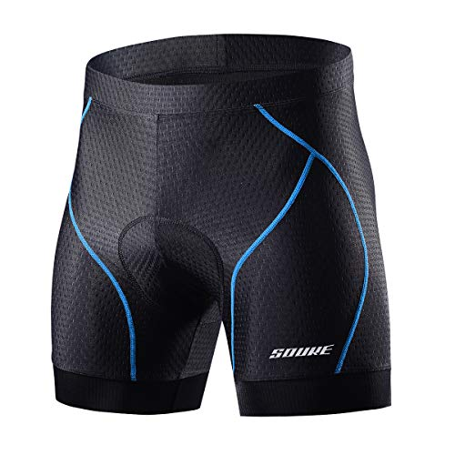 Souke Sports Men's Cycling Underwear Shorts 4D Padded Bike Bicycle MTB Liner Shorts with Anti-Slip Leg Grips(Blue, X-Large)
