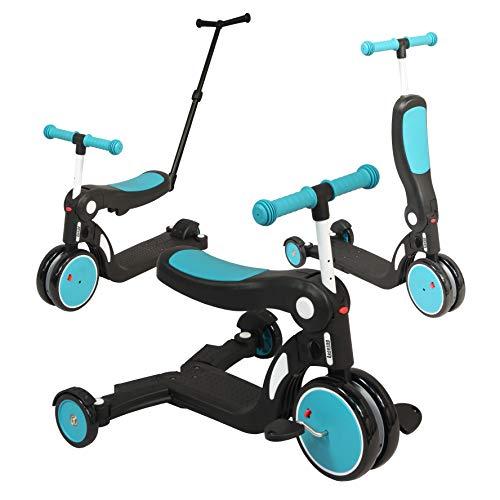 Looping SCOOTIZZ - La Trottinette Transformable Évolutive 5 en 1 (Jusqu'à 50kg) - Draisienne, Tricycle, Trottinette (Bleu Paon avec Barre de Poussée)