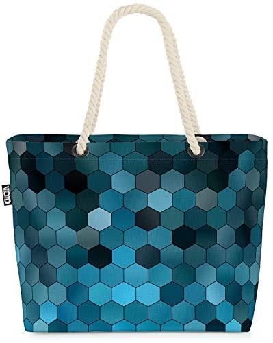 VOID Hexagon Grafisches Muster Strandtasche Shopper 58x38x16cm 23L XXL Einkaufstasche Tasche Reisetasche Beach Bag