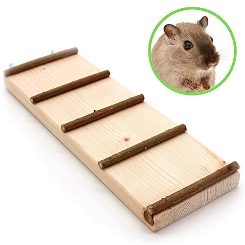 Tolle Nagerleiter mit Naturholz Sprossen für Nager Hamster Mäuse Ratten & Co. | Drehbare Haken zur Fixierung der Nagertreppe | Zubehör für den Käfig | holzrampe Leiter Treppe Brücke