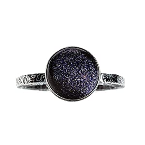 Constellation Night Sky Solitaire Ring with Blue Goldstone in Sterling Silver - Galaxy Star Space jewelry