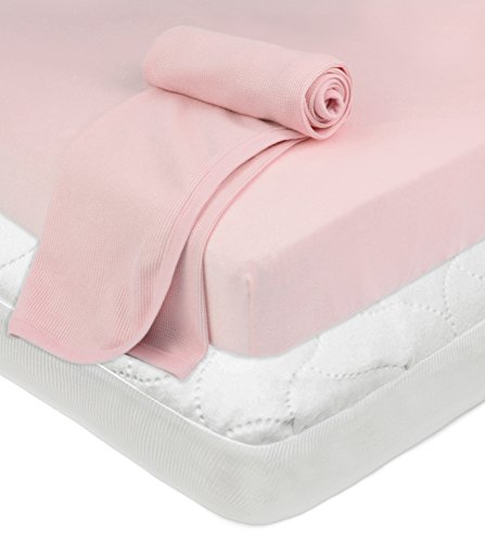American Baby Company Crib and Toddler Bundle, Mattress Pad Cover,Fitted Sheet, Thermal Blanket, Pink