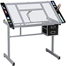 Yaheetech Adjustable Drafting Table Drawing Desk Art Desk Table Art Craft Station Study Table Tempered Glass Top w/ 2 Slide Rolling Wheels and Drawers