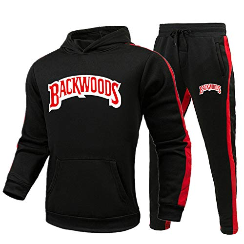 MUNIU Backwoods Hoodie Sweatshirts Sweatpants Suits Pullover Mens Sports Sweat Suits 2 Piece Outfits,Black,XXL