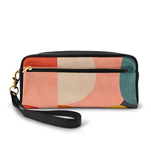 Federmäppchen, Make-up-Tasche, Geldbörse, geometrische Form, organisches Rouge, Curry, Blaugrün, große Kapazität, Kosmetikpinsel, Make-up-Tasche für Reisen, Büro, Schule