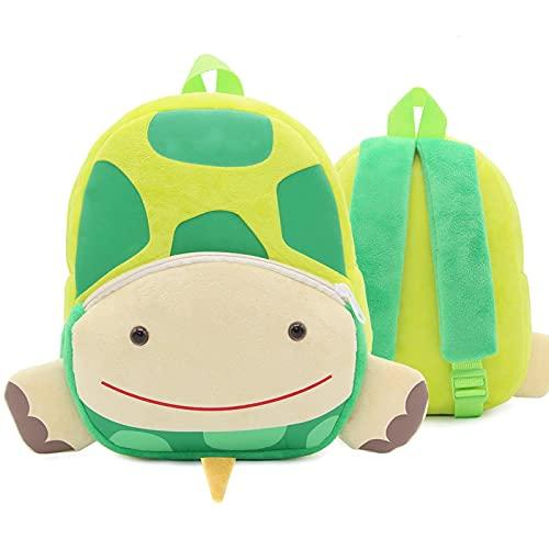 ZWRY Mochila infantil Mochilas escolares de felpa rellenas para niños pequeños, mochila para jardín de infantes, mochila para niños, mochila de animales de dibujos animados en 3D, tortuga