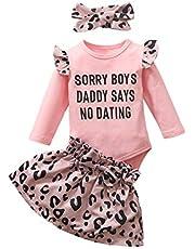 Borlai Baby flicka leopard kjol kläder långärmad overall + kjol + pannband kläder kläder kläder