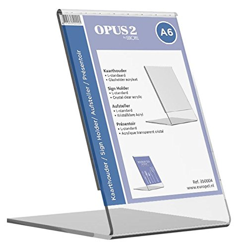 OPUS 2 350004 - Soporte de sobremesa, inclinado, acrilico Transparente, para A6 vertical