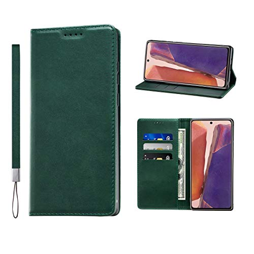 Huping Samsung Note 20 Case, Wallet Case Card Holder [with Wrist Strap] Leather Shockproof Flip Cover for Samsung Galaxy Note 20 - Green