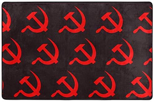 LAURE Cosy Slip Resistant Indoor-Großflächenteppich Fluffy Living Room Carpets Geeigneter Kinderteppich Red Hammer and Sickle