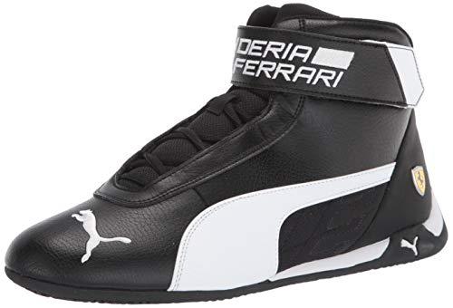 PUMA Ferrari R-Cat Mid Sneaker, Black White Black, 11 M US
