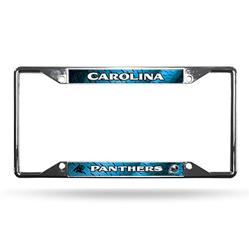 NFL Rico Industries Easy View Chrome License Plate Frame, Carolina Panthers