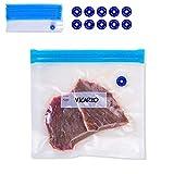 "VICARKO 30 Vacuum Zipper Bags, Vacuum Sealer Bags, Food Storage, Reusable Bags, with Double Layers, BPA Free, Quart Size, 11 x 10"""