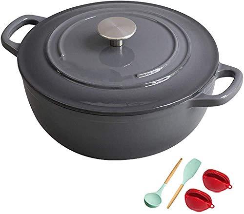 YWYW Casserole Dish Profession Gusseisen emaillierter Matt Dutch Oven Pot mit emailliertem Gusseisendeckel Dutch Oven für die Zubereitung von Mahlzeiten mit niedrigen und langsamen Kochwerten Gra
