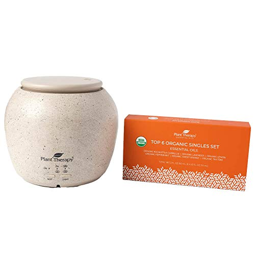 Plant Therapy TerraFuse Deluxe Cream Diffuser and Top 6 Organic Essential Oil Set 100% Pure, Undiluted, Therapeutic Grade Essential Oils