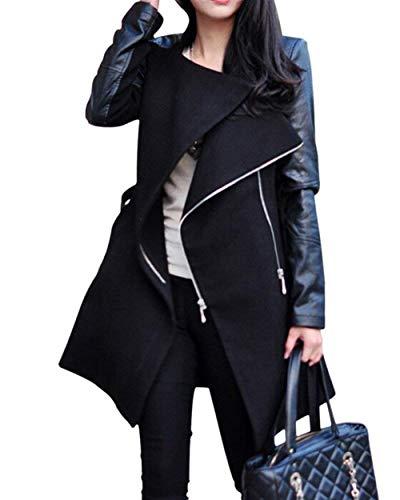 Gabardina Mujer Primavera Otoño Largas Chaquetas Fashion Mode De Marca Vintage Parkas Splice Casual Cuero Sintético Manga Larga con Cremallera Slim Fit Abrigos Outwear (Color : Schwarz, Size : 2XL)