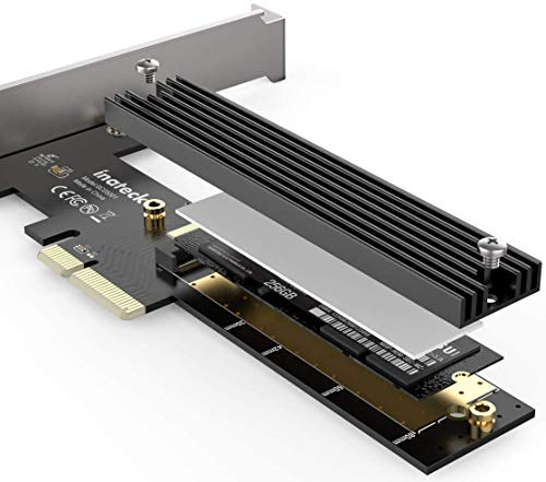 Inateck M.2 PCIe アダプター、PCIe x4 to M.2 SSD NVMe カード、ヒートシンク付き、ロープロファイルブラ...