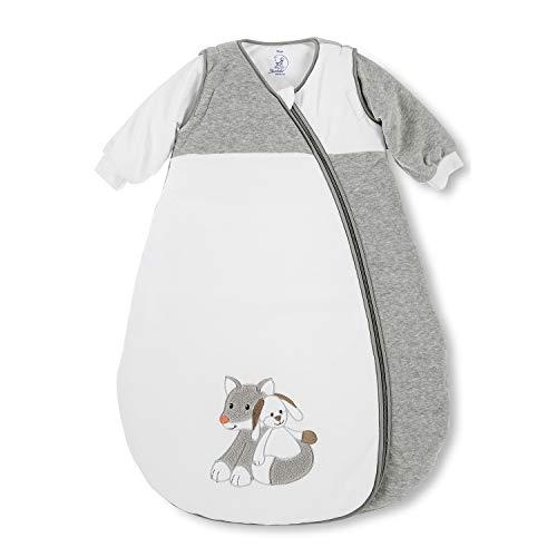Sterntaler Schlafsack für Kleinkinder, Abnehmbare Ärmel, Wärmeregulierung, Reißverschluss, Größe: 70, Waldis, Weiß/Grau