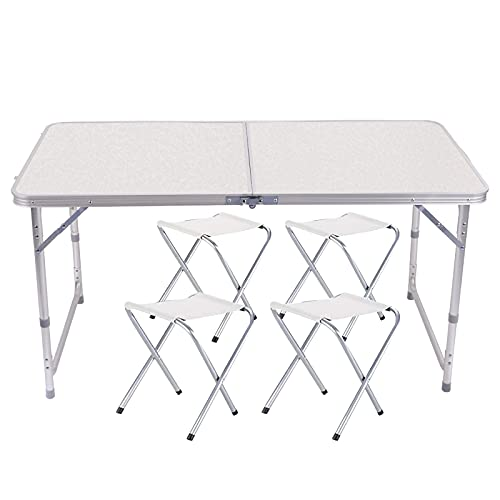 Mesa de Camping Plegable de 120cm, Altura Ajustable, Ultraligera, Durable, para jardín, Fiesta,...